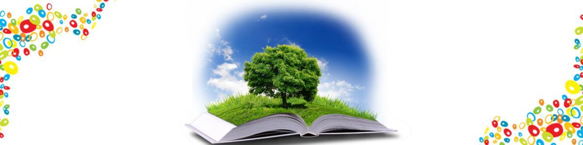 Åben bog hvor der vokser et træ op af