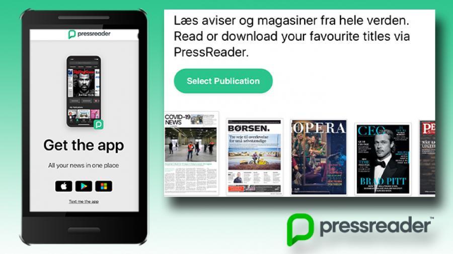Smartphone med appen PressReader