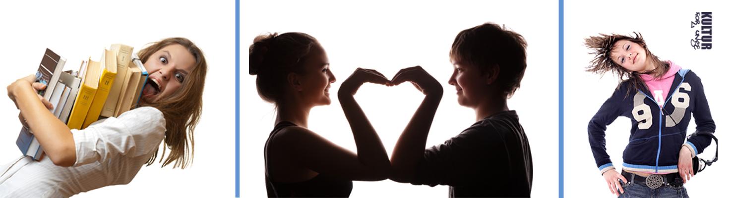 Pige med favnfuld bøger. Pige og dreng laver hjertefigur med armene.